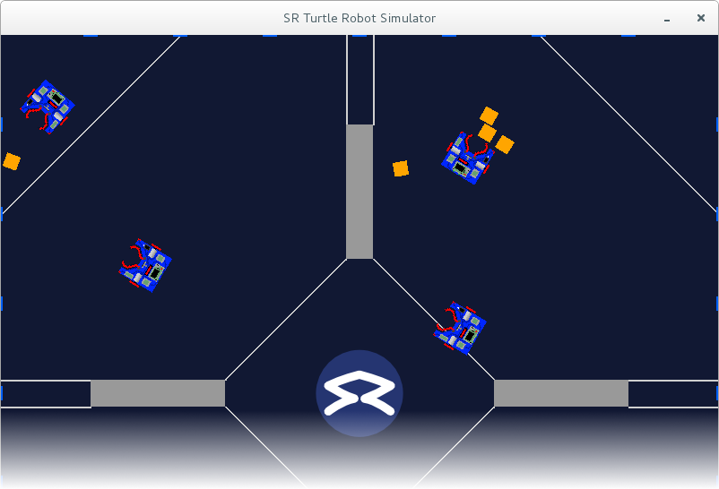 Screenshot of the simulator with four robots playing in a virtual arena.